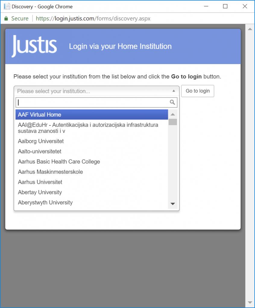 Justis Legal technology roadmap - Login